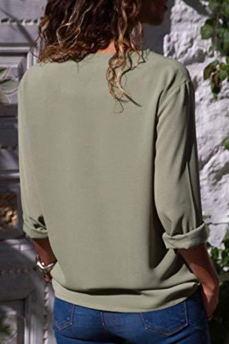 Chemise Simple Cou Femme Tops Printemps Rglable Elgante Spcial Casual Uni Confortable Boutonnage Manches Mode Manche V Gr Longues Shirt Mousseline Style Chemisiers Rxpxwz