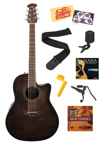 Ovation CS24P-TBBY Celebrity Standard Plus Acoustic-Electric Guitar with Flamed Maple Top Bundle with Strings, Strap, Tuner, Capo, String Winder, Picks, Instructional DVD, and Polishing Cloth - Transparent Black