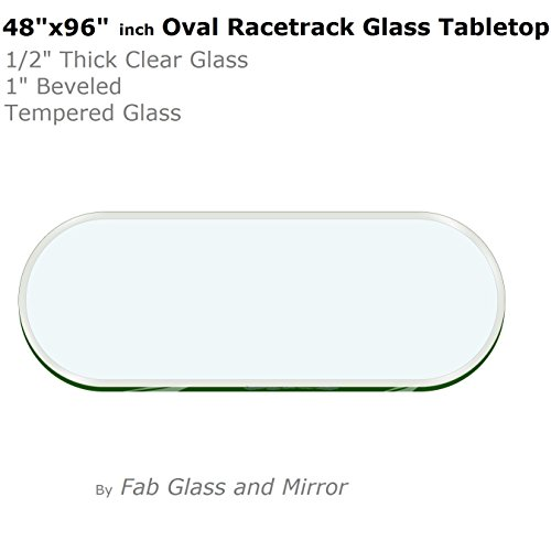48'' x 96''  Racetrack Oval Glass Table Top 1/2'' Thick 1'' Beveled Tempered by Fab Glass and Mirror by Fab Glass and Mirror