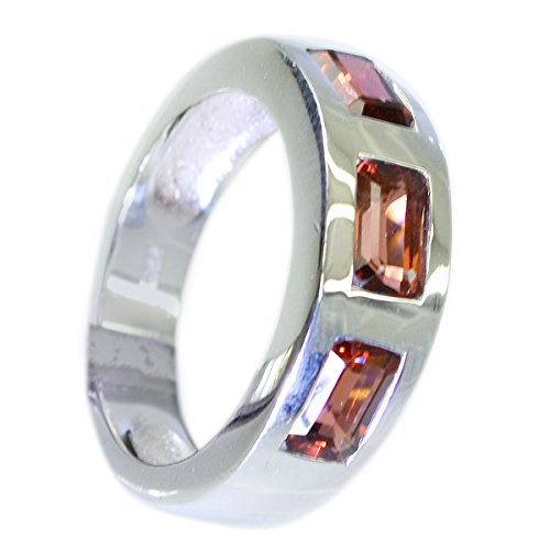 Real Red Garnet Ring Silver 925 Bezel Setting Baguette Gemstone Jewelry Avaliable Size 5,6,7,8,9,10,11,12 ()