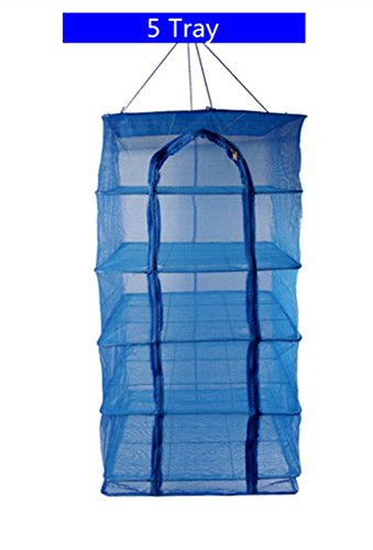 19.5x19.5in 5 Tray / 3 Tray Hanging Drying Net Food Dehydrator Natural Way For Drying Meat,Seafood,Fish,Vegetables,Fruits,Flower (Blue-5 Tray-50x50cm)