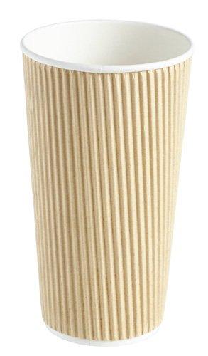 Thali Outlet–500x Kraft 567gram Ripple 3plis jetables isotherme papier Tasses pour thé café Cappuccino boissons chaudes Thali Outlet Leeds