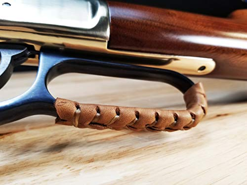 D4 Guns Handcrafted Leather Lever Wrap for Lever Action Rifles and Shotguns - 2 Qty (Light Brown/Dark Brown) (Action Lever 30 30 Marlin Rifle)