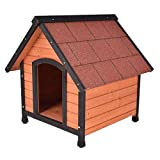Tangkula Dog House Pet Outdoor Bed Wood Shelter Home Weather Kennel Waterproof 4 Size (L with Grid line)