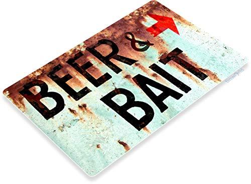 Tinworld TIN Sign B805 Beer & Bait Fishing Bait Retro Box Tackle Fish Rustic Metal Decor ()