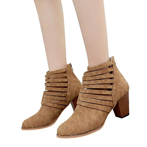 Hemlock High Heel Ankle Boots, Womens Ladies Wedge Shoes Sandals Boots Martin Boots Party Dress Martens (Brown-1, US:9.5)