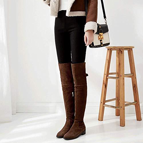 Low Frauen Taktische Seitliche Reißverschluss Stiefel Ferse Flache Stretch Reitstiefel Warme Stiefel Spitz Overknee Partei Slouch Hohe Block TOXrTg