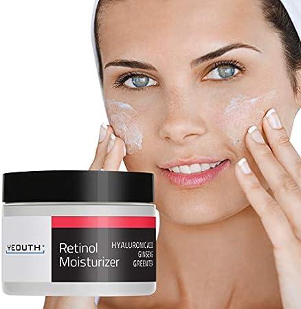 YEOUTH Retinol Cream Hidratante 2.5% para Rostro con Ácido Hialurónico (1oz)