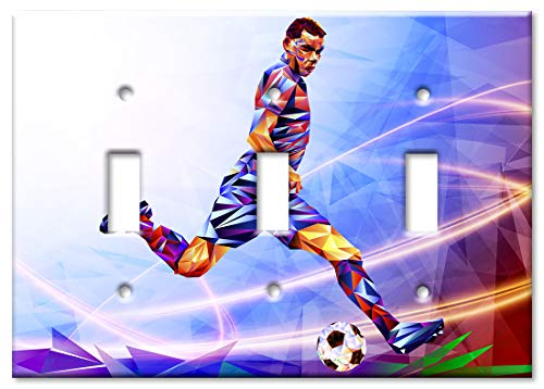 Art Plates 3-Gang Toggle OVERSIZED Switch Plate/OVER SIZE Wall Plate - Colorful Soccer Player ()