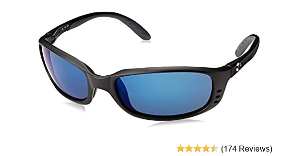47585febde Amazon.com  Costa Del Mar Brine Sunglasses BR 11 OBMP Matte Black Blue  Mirror 580Plastic  Costa Del Mar  Clothing