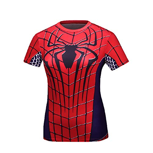 Short Sleeve Red Spider Compression Running Shirt Girls Cosplay Costume M ()