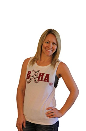 Tough Little Lady NCAA Women's Shirt Bama Muscle Graphic tee MUS wh (White, Small)