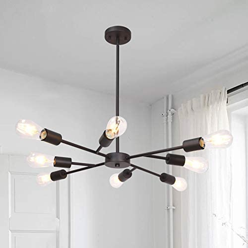 Banato Modern Sputnik Chandelier Lighting 8 Lights Oil Rubbed Bronze Finish
