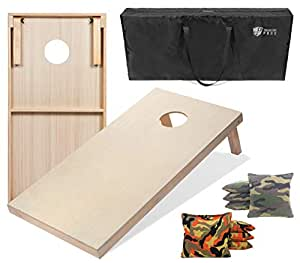 Tailgating Pros 4'x2' & 3'x2' Cornhole Boards w/Carrying Case & Set of 8 Cornhole Bags (You Pick Colors) 150+ Color Combos! (Orange Camo/Green Camo, 4'x2' Boards)