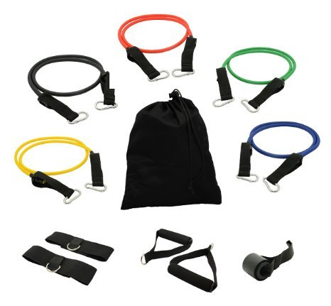 USA Lifting Resistance Band Set with Door Anchor, Ankle Strap, Exercise Chart, and Resistance Band Carrying Case ()