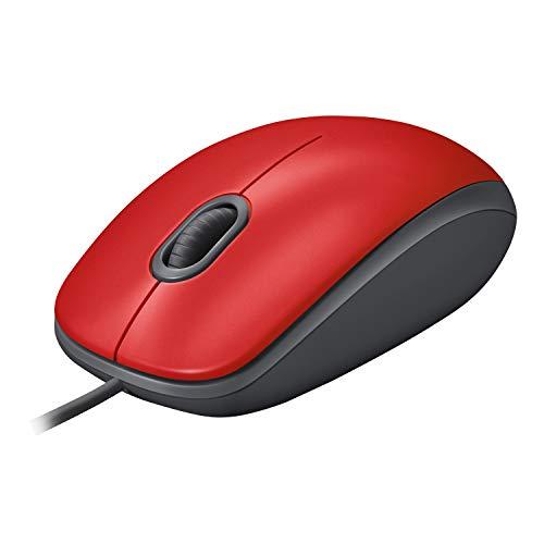 Logitech M110 Ratón con Cable USB, Botones Silenciosos, Tamaño Normal Confortable, Ambidiestro, PC/Mac/Portátil, Rojo