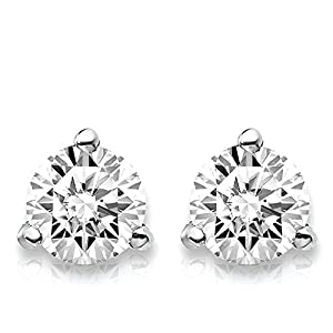 1cttwLab Grown Diamond 3 Prong (Martini) Stud Earrings (DEF Color, VS/SI Clarity) Set in 14k Gold (White-Gold)