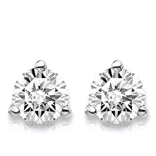 1/2 Carat Lab Grown Diamond 3 Prong (Martini) Stud Earrings (D-F Color, VS/SI Clarity) Set in 14k Gold - Martini Prong 3 Studs