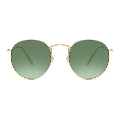 23981127a77 Circle Sunglasses Glass with Dark Green lens for Men and Women Classic Gold  Metal Eyewear Round