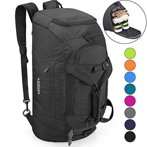 G4Free 3-Way Travel Duffel Backpack Luggage Gym Sports Bag with Shoe Compartment (Black)