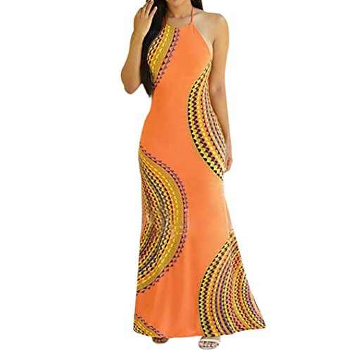 Price comparison product image Besooly Sleeveless Halter Dress Womens African Print Dress Long Beach Maxi Dress Evening Party Bodycon Dress (XL,  Yellow)