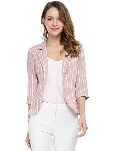 Allegra K Women's Striped 3/4 Sleeves Open Front Notched Lapel Blazer L Pink