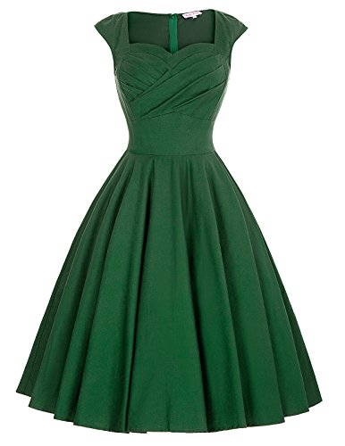 Sweetheart Neckline 1940 Pin-Up Wiggle Dress Size L BP187-4, Green (Sweetheart Ruched Dress)