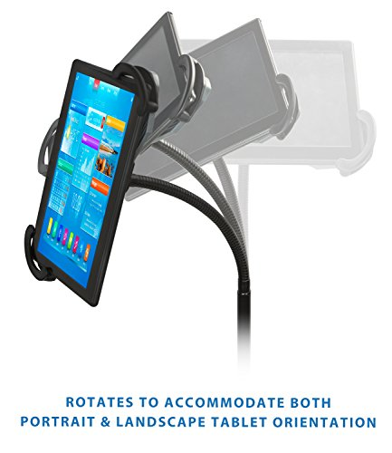 Mount-It! iPad Floor Stand Height Adjustable Tablet Mounts Fits iPad 2, 3, 4, Air Samsung Galaxy Tab, Adjustable Gooseneck Full Motion Rotating For Public Display POS and Kiosk
