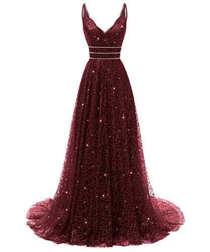 RJOAM-Prom Dresses Long Beaded Deep V-Neck&Back Sparkling Princess Tull Dresses 2019 Party Night Evening Gown Burgundy