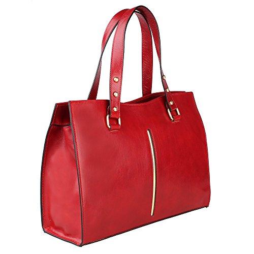 en Borse Italie en Rouge Chicca Cm Fabriqué Sac à véritable 38x27x12 femme cuir main wqWw08HFv