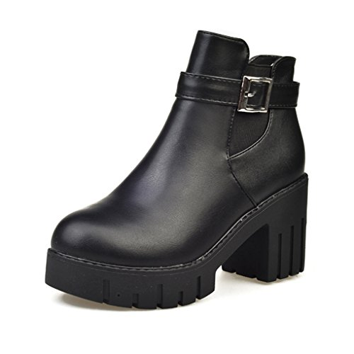 Cybling Mode Dames Gesp Blok Hiel Hiel Enkellaarsjes Voor Wandelen Rond Tenen Waterdichte Schoenen Zwart