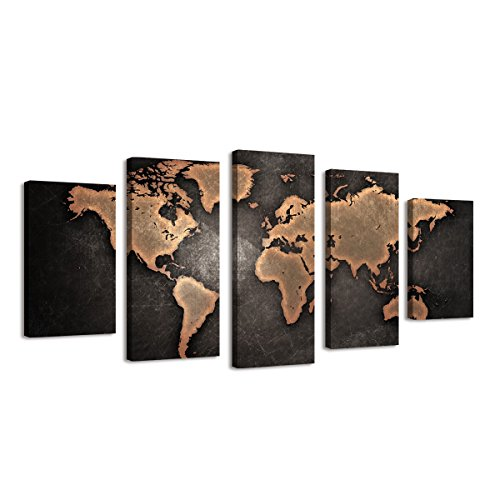 BIL-YOPIN Large 5 Panels World Map Canvas Painting Wall Art Canvas Modern Prints for Home Decor