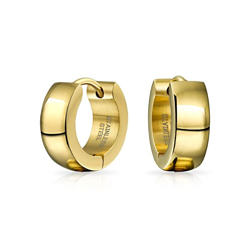 (Simple Basic Shiny Gold Tone Plated Huggie Hoop Kpop Earrings For Men For Women Plated Stainless Steel)