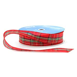 Berwick 1-1/2-Inch Wide by 50-Yard Spool Wired Edge Clarkston Craft Ribbon, Red/Green/Gold