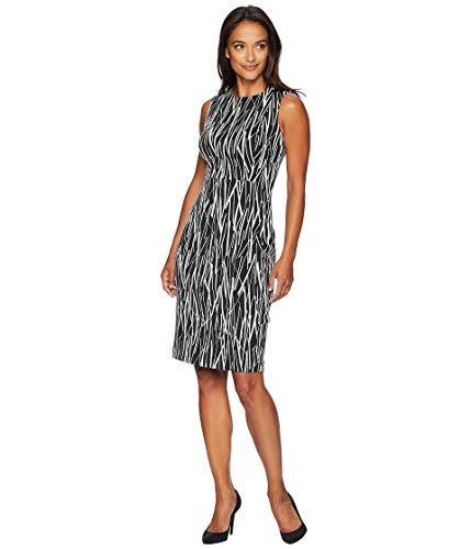 - Calvin Klein Women's Scuba Crepe Sleeveless Princess Seam Sheath Dress, Black/Cream(Multi), 2