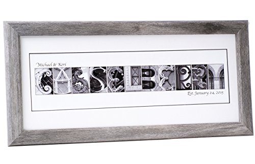 Personalized Name Sign Plaque with 12 by 26 inch Driftwood Frame created with Black and White Architectural Alphabet Photographs for Personalized Gift, Wedding, Graduation, Anniversary, Childrens Name Alphabet Name Wood Frame