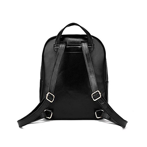 Wewod Mujeres Mochila de PU Cuero Impermeable Backpack Bolsa de Viaje Estilo Ocio Moda para Chicas 25 x 32 x 12 cm (L X H x W ) Negro