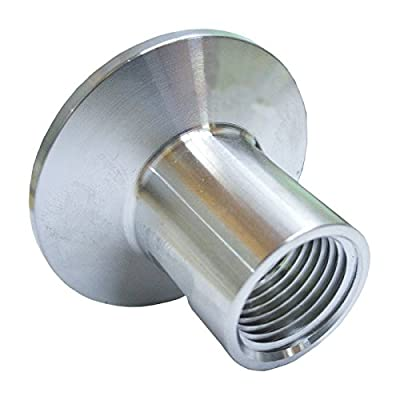 "HomeBrewStuff Stainless Steel Sanitary 1/2"" Female Threaded Pipe Fitting x Tri Clamp Clover (50.5mm Ferrule)"