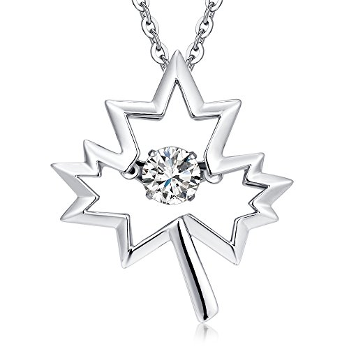 925 Sterling Silver Necklace 18 '' with Dancing Diamond CZ Maple Leaf Charm Pendant for Women Christmas Tree