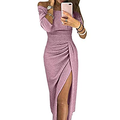 ULIAN Women Off Shoulder Long Sleeve Ruched High Slit Metallic Glitter Evening Party Dress