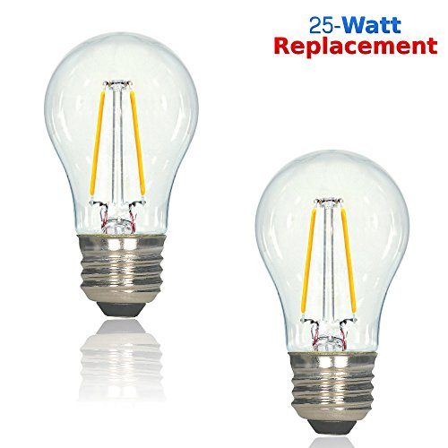 Luxrite LR21237 (2-Pack) 2-Watt LED Filament A15 Light Bulb, 25W Incandescent Light Bulb Replacement, Warm White 2700K, 200 Lumens, 280° Flood Beam, 80 CRI, 15,000 Hour Life, E26 Base (White Incandescent Two Light)
