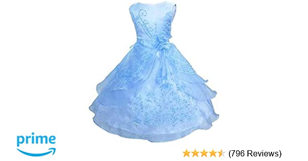 172ad93d0ca1 Amazon.com  Shiny Toddler Little Big Girls Embroidered Beaded Flower ...