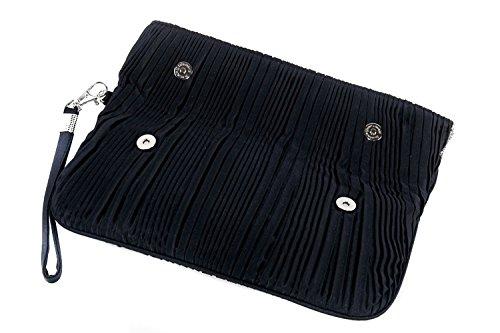 Borsetta donna JEAN MARTEN blu pochette con doppia apertura calamita raso N515