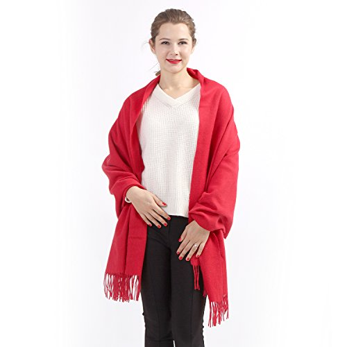 100% Cashmere Wrap Shawl Stole for Women, Guaranteed Quality Pure Cashmere, Super Soft and Warm Extra Large Scarf, Red
