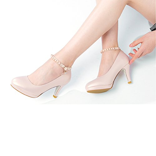 Schuhe hohe mit wasserdichten Füße des CN39 der XUERUI Frühlinges weibliche des Stöckelschuhen neue einzelne flache Weibliche runde Stöckelschuhe Munds Schuhe größe UK6 EU39 gT7qawnx
