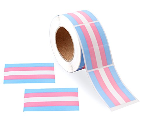 Gay Pride - Transgender Pride Rectangle Stickers (1 Roll - 250 Stickers)