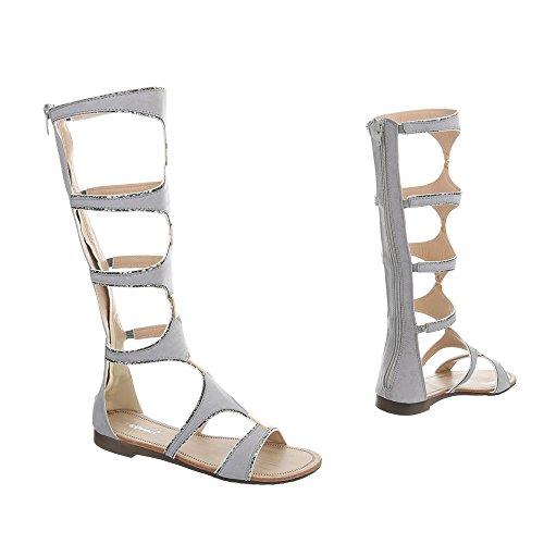 Ital-Design Zehentrenner Damenschuhe Blockabsatz Reißverschluss Sandalen Sandaletten Hellgrau JN-32