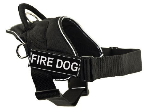 Dean & Tyler DT Fun Works Harness, Fire Dog, Black With Reflective Trim, Medium Fits Girth Size  28-Inch to 34-Inch