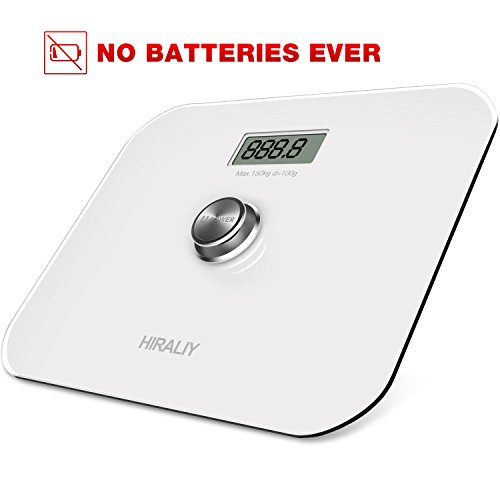 HIRALIY Digital Body Weight Bathroom Scale [No Batteries Ever] with LCD Display and Step on Technology 330lb/150kg (White) by HIRALIY