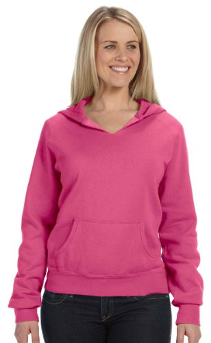 Comfort Colors - Ladies' Pigment-Dyed Frayed Hooded Pullover - 1595 - Raspberry - (Pigment Dyed Pullover Hoodie)